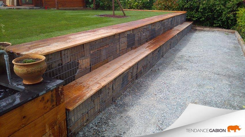 Tendance-Gabion-amphithéâtre gabion avec assise en bois