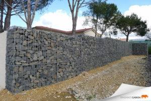 Muret décoratif en gabion